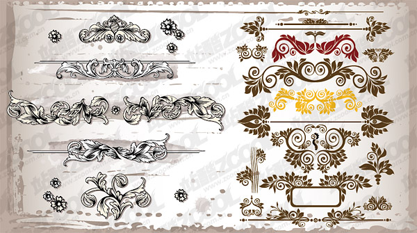 Variety of practical gorgeous pattern vector material