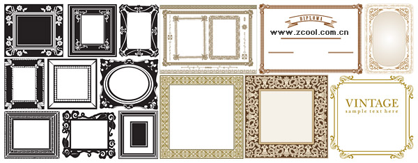 Variety of practical materials lace borders vector