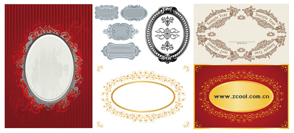 Continental 6 oval lace material vector