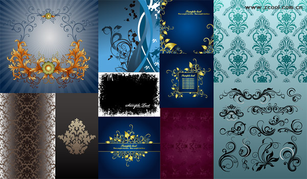 Exquisite fashion pattern vector material package-3