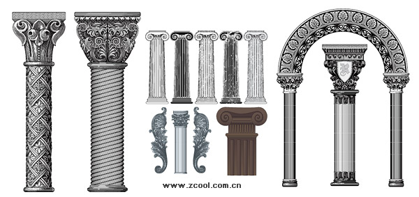 Number of European-style classical columns pattern vector material