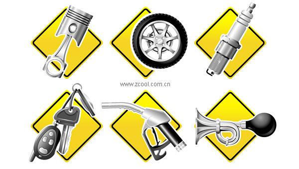 Auto Parts Series icon vector material