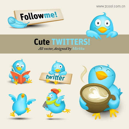Vivid image of twitter icon vector material