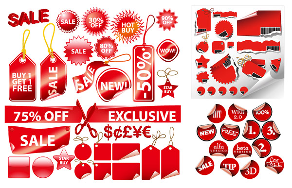 Red label a variety of decorative material vector graphics