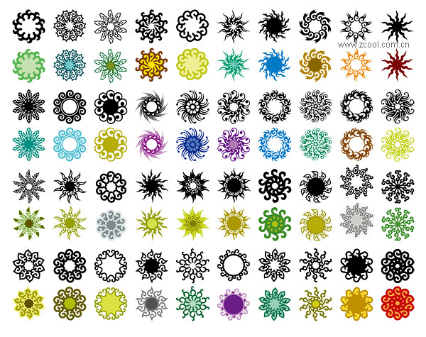 Variety of classical elements in a circular pattern vector material-3