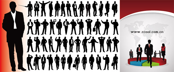 Business People silhouette Vector tortillas and statistical material