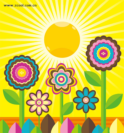 Lovely flowers, the sun vector material