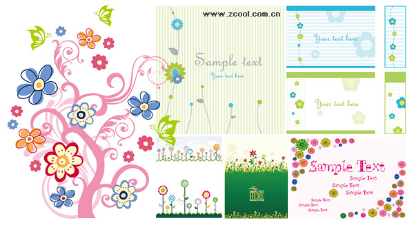 Variety of lovely material vector style flower patterns