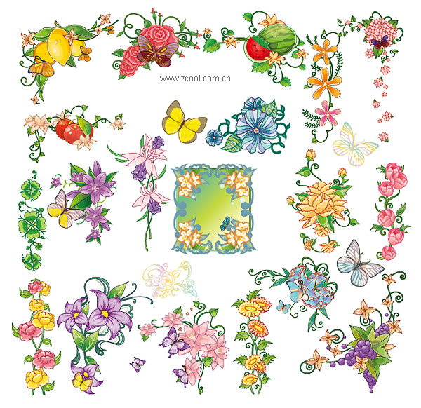 Butterfly lace flowers fruits vector material