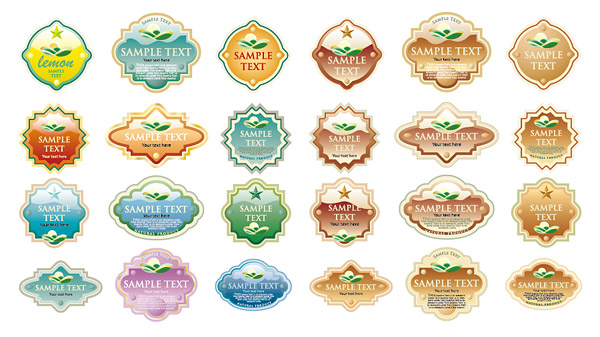 Variety of crystal material style label vect