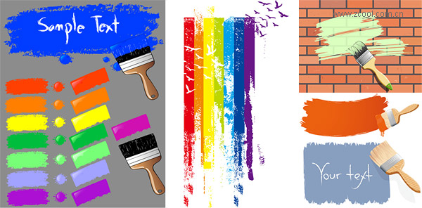 Paint brush and ink marks vector material