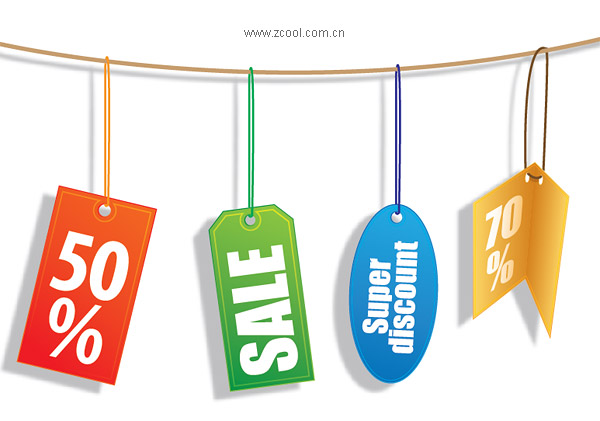 Sales discount decorative material label vector