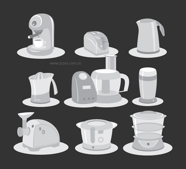 Vector of small electric household appliances