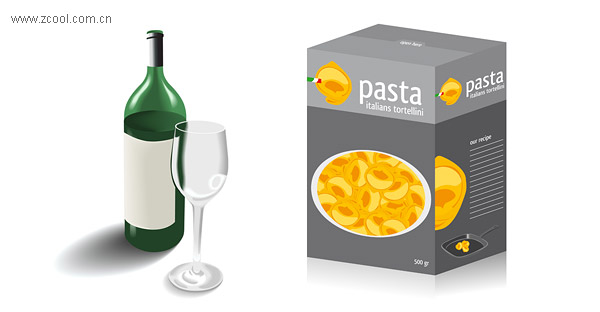 Glass bottles and food packaging material vector