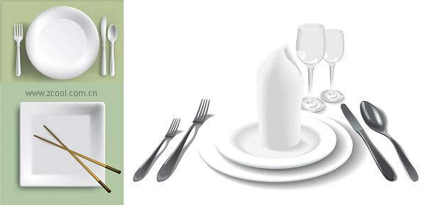 White tableware vector material