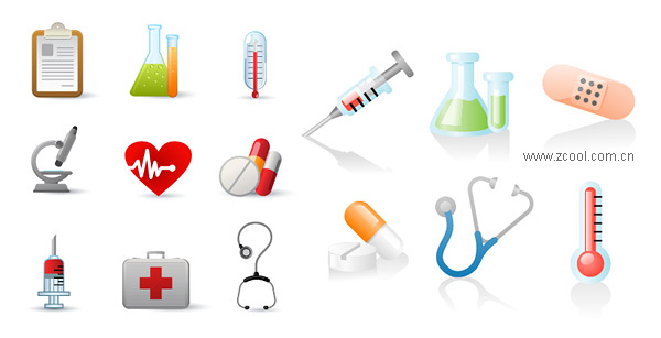 Containers, thermometers, microscopes vector material