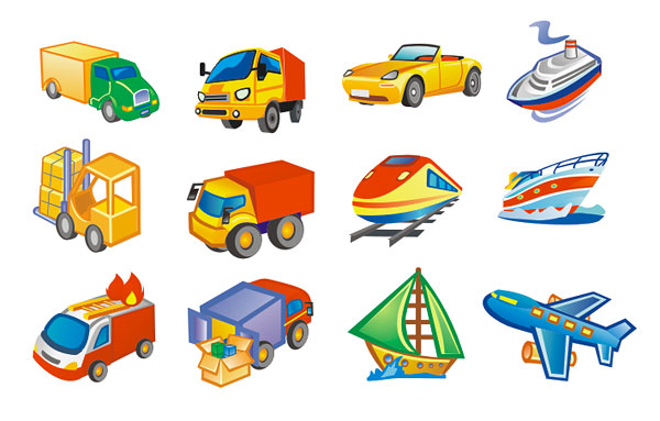 Lovely style transport icon vector material