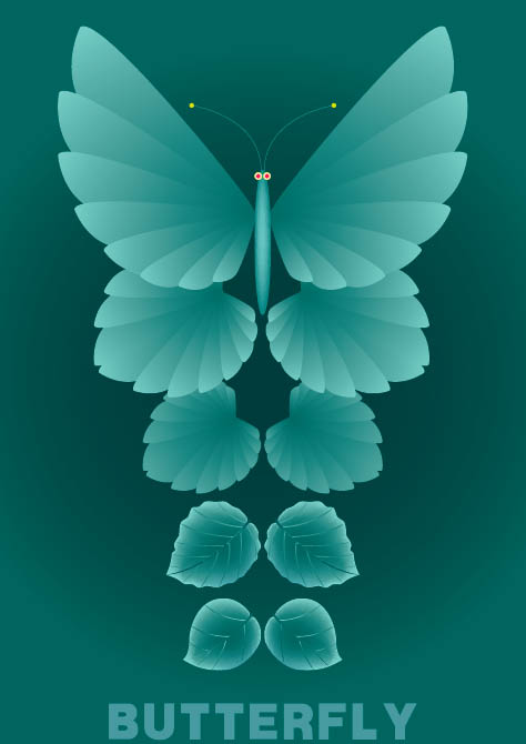 Material leaves and butterflies vector