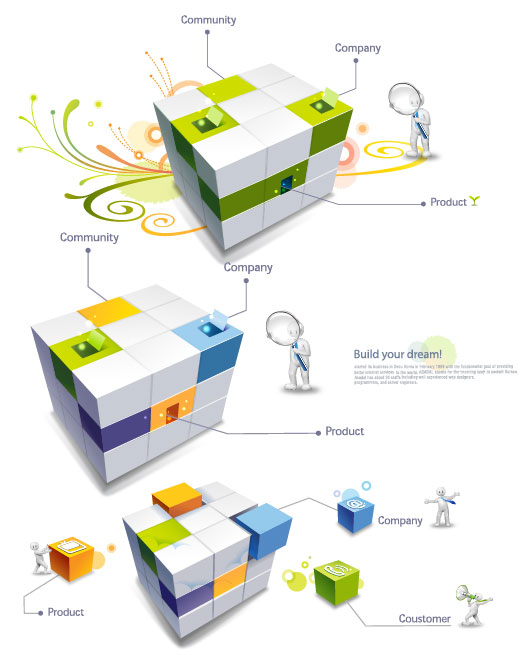 3D Cube 3D mean vector material