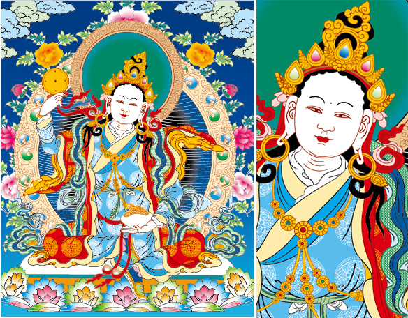 Lin Tibetan Thangka mother to three lines of empty vector AI