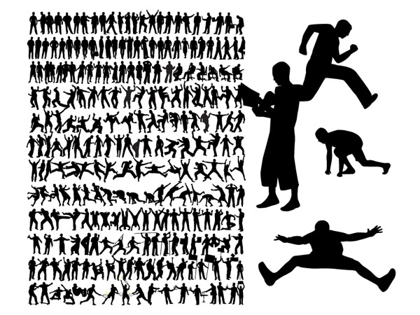 A variety of action figures silhouette vector material