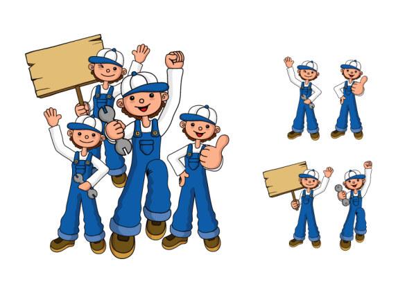 Repair personnel figures vector material