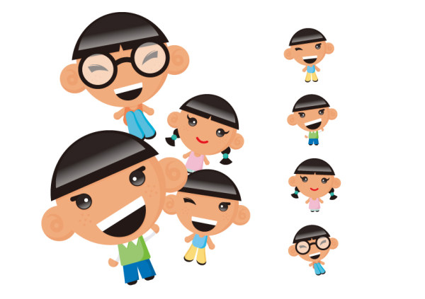 Vector characters children material
