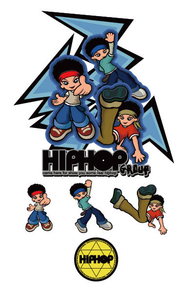 Hip-hop cartoon character vector material