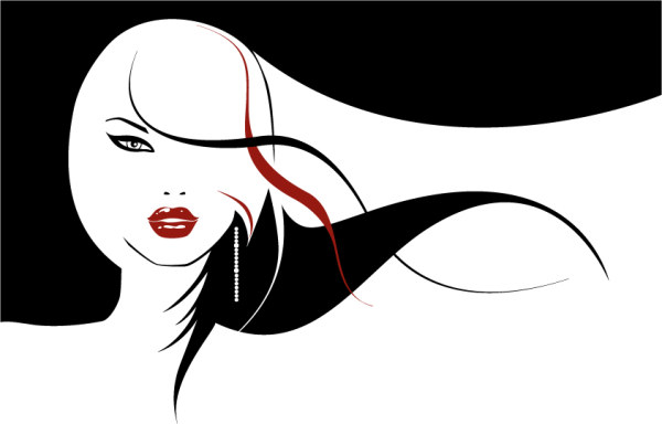 Vector girls with long hair flowing material