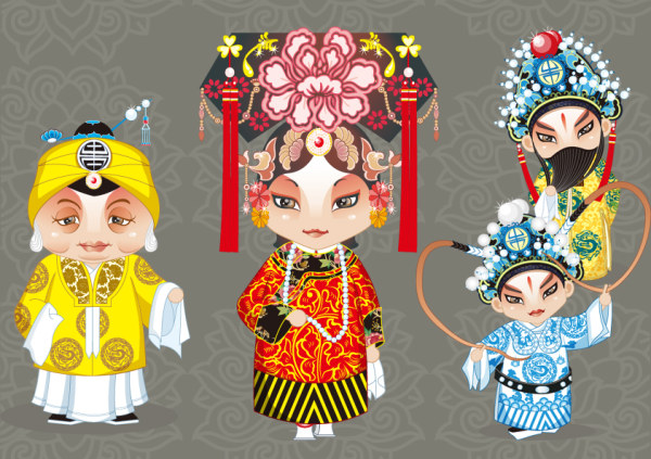 Opera cartoon characters vector (2)