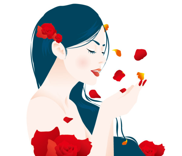 Rose petal girls vector material