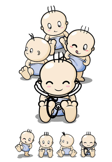Baby cartoon character vector material