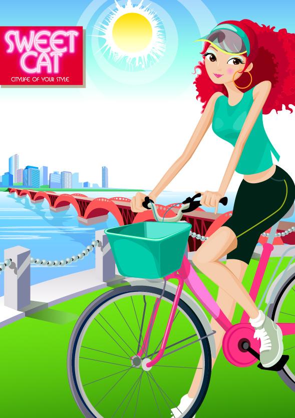 Fashion girl vector material cycling