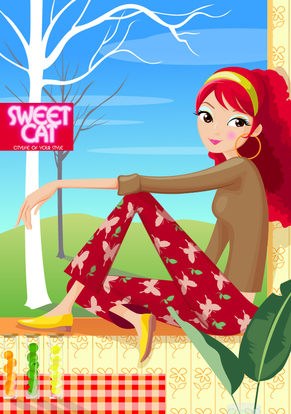 Fashion home vector material girls
