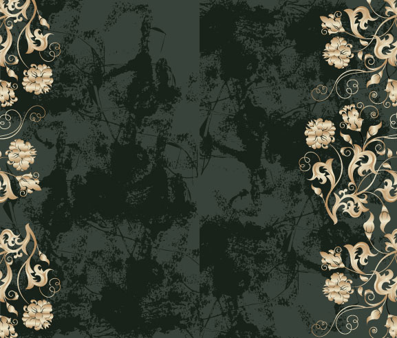 Background of ornate patterns and dirty vector material