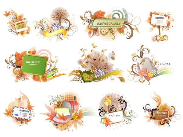 Autumn, leaves, autumn leaves, chestnuts vector