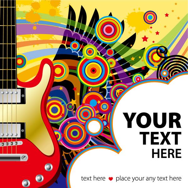 Guitar, stars vector material