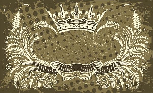 Crown, banner, olive branch vector