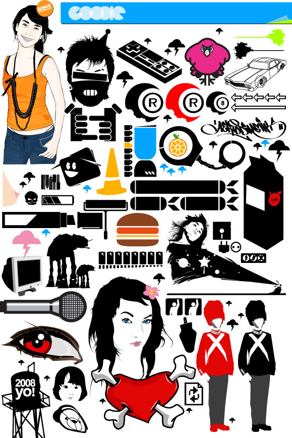 Game handle, milk boxes, marker pens, paint brushes, glasses vector