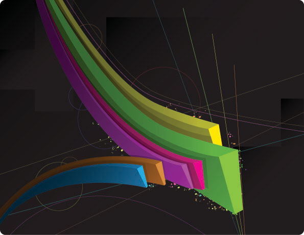 Three-dimensional vector lines
