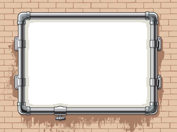 Water pipes, frame, brick wall Vector