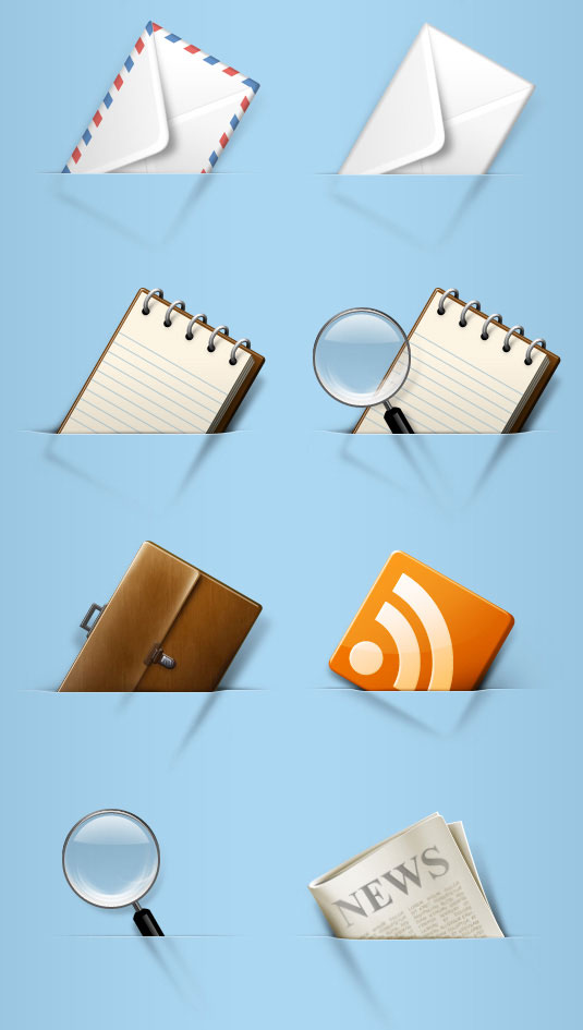 Aviation envelope, brush, documents, newspapers, png icons