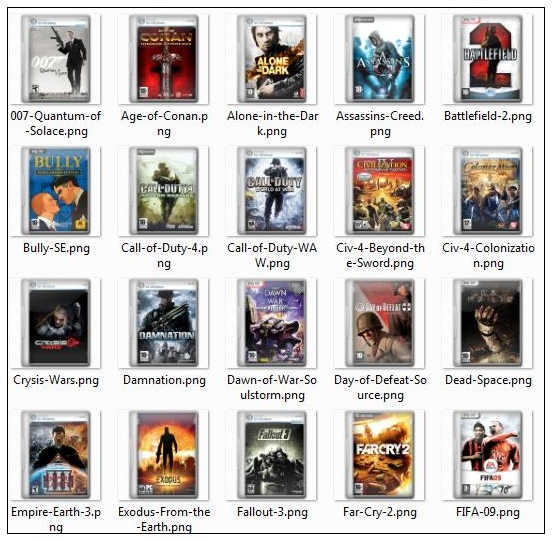 Computer games and movies cover png icons -1