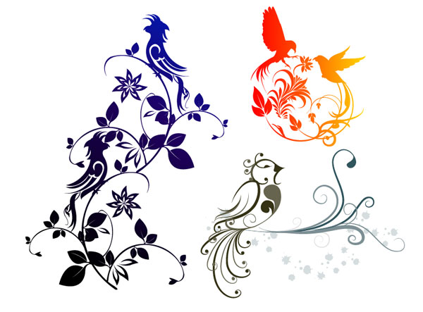 Combination of exquisite bird pattern vector