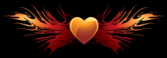 Heart-shaped wings vector