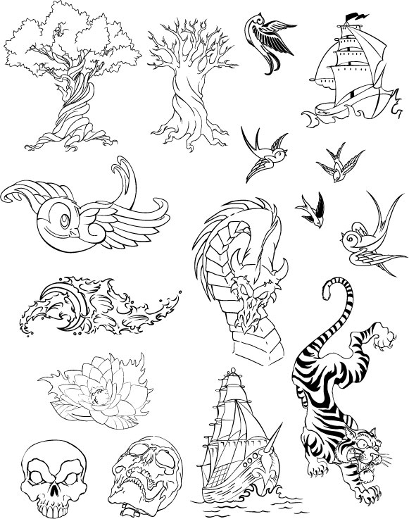Swallow, waves, dragons, lotus, sailing, Tiger