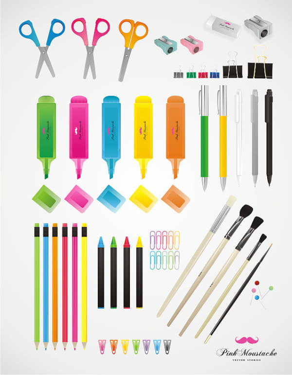 Pencil, pen, crayon, pencil sharpener, scissors, pen, rubber