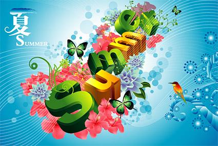 summer, flowers, butterflies, birds three-dimensional characters