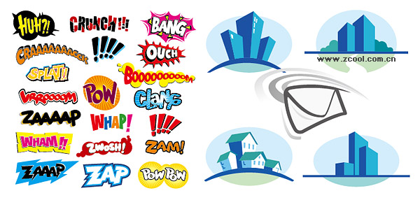 Buildings, icons, mail, house, art vector fonts