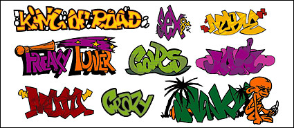 Graffiti-style art fonts, paragraph 145 Vector material